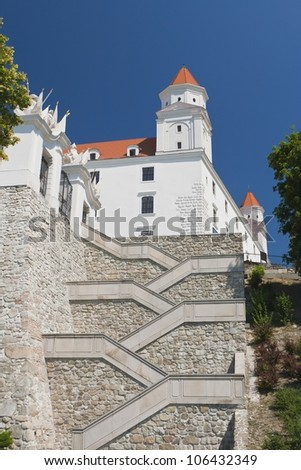 Stairs and gate to the castle of Bratislava - stock photo