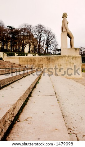 Stairs and statue in Paris, France.  Copy space.