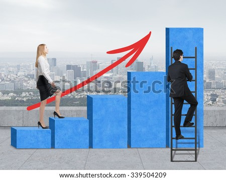 Stairs as a huge blue bar chart are on the roof, New York view. A woman is going up to the stairs, while a man has discovered a shortcut hot to reach the highest point. A growing red arrow. - stock photo
