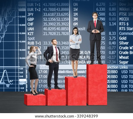 Stairs as a huge red bar chart. Business people are standing on each step as a concept of corporate ladder in financial market. Indices and currency data on the background. - stock photo