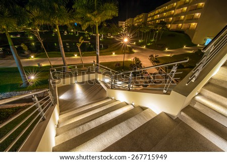 Stairs at night, dawn. - stock photo