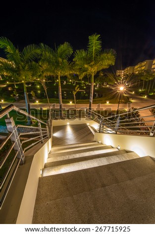 Stairs at night, dawn. Vertical. - stock photo