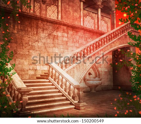 Stairs Castle Fantasy Backdrop - stock photo