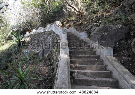 Stairs climbing to a Temple in Laos - stock photo