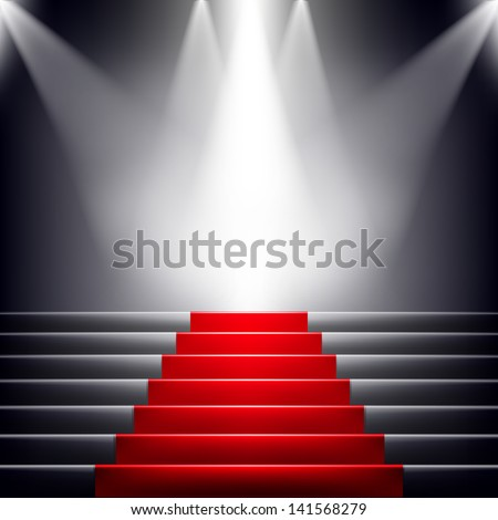 Stairs covered with red carpet. Scene illuminated by a spotlight. Raster copy of vector image - stock photo