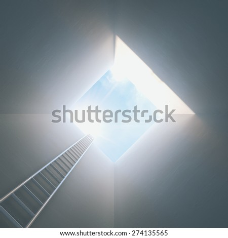 Stairs from tunnel the light. Conceptual success picture. - stock photo
