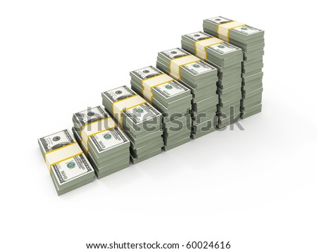 Stairs from USD stacks - stock photo