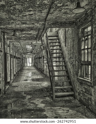 Stairs in a Cell Block at Eastern State Penitentiary, Philadelphia, Pennsylvania - stock photo