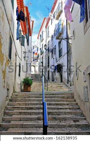 Stairs in Alfama district, Lisbon - stock photo