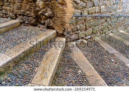 stairs in an medieval city in Europe - stock photo