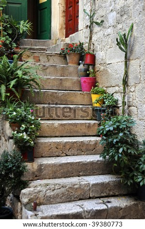 stairs in Croatia - stock photo