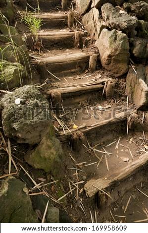 Stairs in japaneese garden Sankei-en, Yokohama, Japan - stock photo