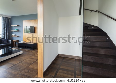 stairs in  luxury duplex apartment - stock photo