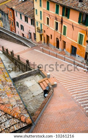 Stairs in Perugia - stock photo