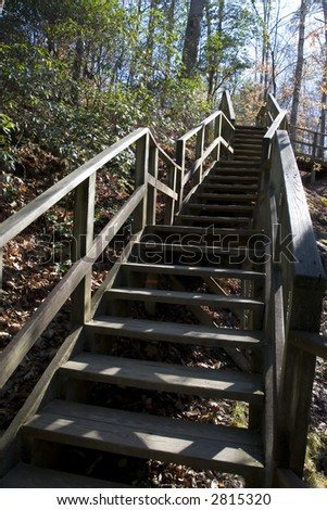 Stairs in Raven Rock State Park, NC - stock photo