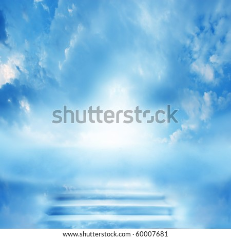 stairs in sky - stock photo
