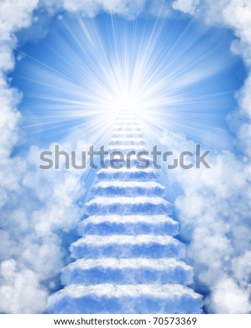 Stairs in sky to heaven - stock photo