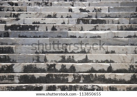 Stairs in Temple of Apollo in antique city of Didyma - stock photo