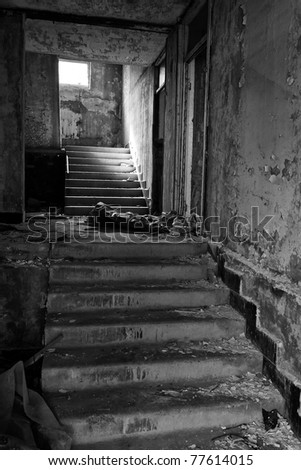 stairs in the in prefabricated house, black and white - stock photo