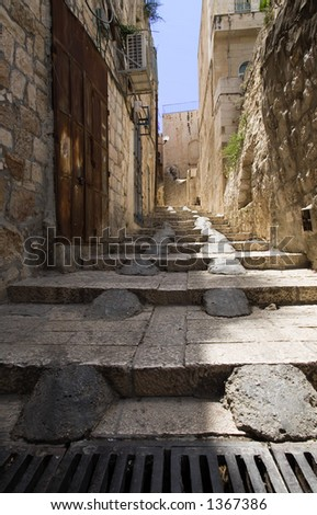 Stairs in the old city of Jerusalem - very large photo