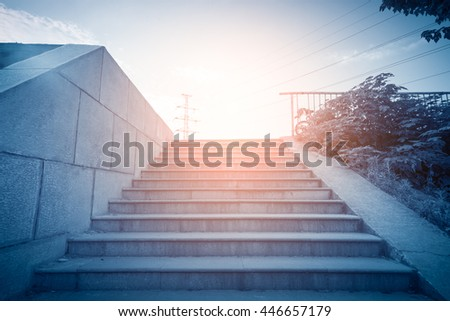 Stairs in the outdoor under the sky, urban abstract landscape