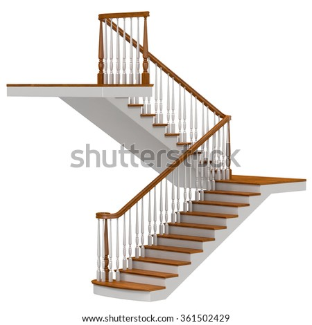 Stairs Isolated on White Background - stock photo