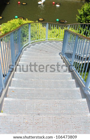Stairs leading down - stock photo