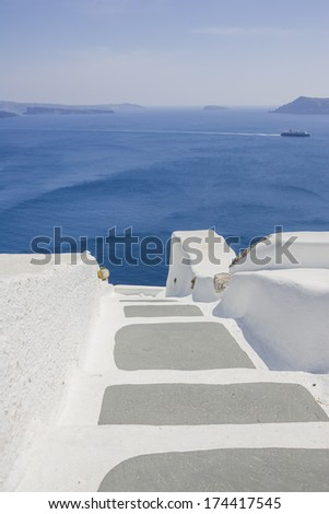 Stairs leading down to sea. Oia village, Santorini island, Cyclades, Greece