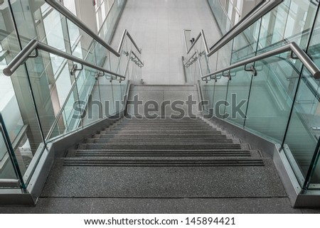 Stairs leading down to two levels