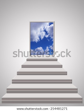 stairs leading from room to light blue sky - stock photo