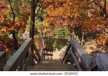 Stairs leading to Pink lake - stock photo