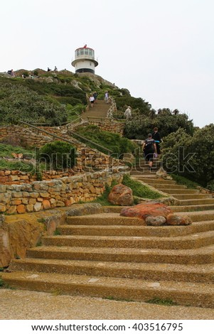 Stairs leading to the Cape Point Lighthouse in the Table Mountain, South Africa. - stock photo
