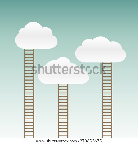 stairs leading to the clouds - stock photo
