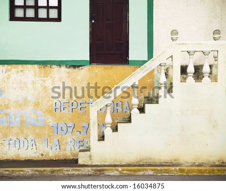 Stairs leading up from the street in Granada Nicaragua