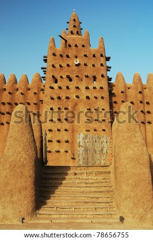 Stairs leading up to a minaret of the Djenne mud mosque in Mali - stock photo