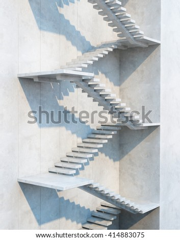 stairs leading upward, architectural composition, 3d rendering - stock photo