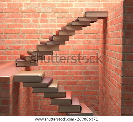 Stairs made of books on a concept of learning and achievement of success. - stock photo