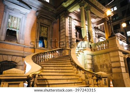 Stairs of a historic building on Broad Street at night, in Philadelphia, Pennsylvania. - stock photo