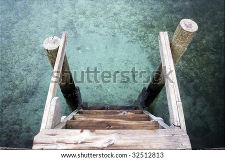 Stairs of Dock - stock photo