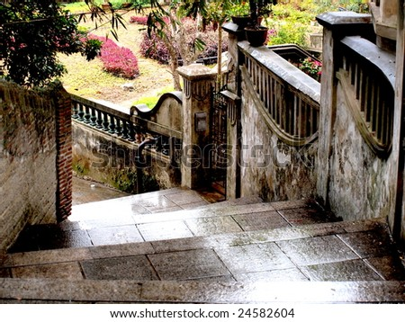 Stairs of pathway after rain . - stock photo