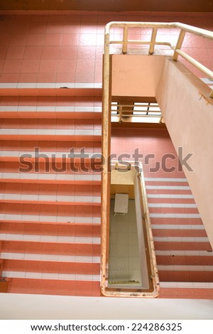 stairs of the building seen from above - stock photo