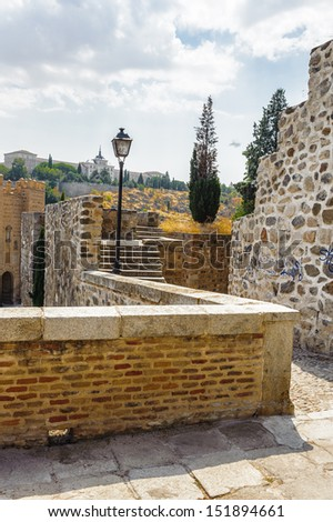 Stairs of the Toledo stone passages - stock photo