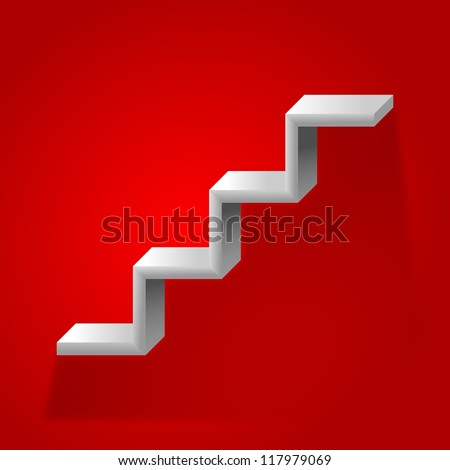 Stairs on a red background - stock photo