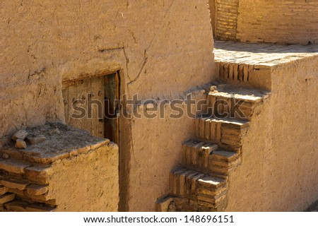 Stairs on the Itchan Kala, the walled inner town of the city of Khiva, Uzbekistan.