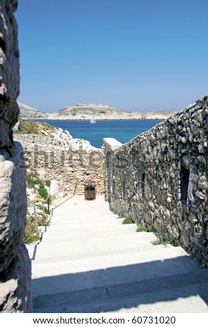 Stairs rise on the island dIf to the castle - stock photo