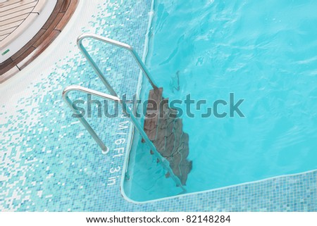 stairs swimming pool on a cruise ship - stock photo
