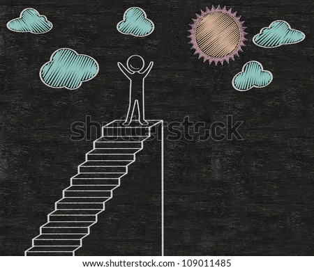 stairs to achieve abstract written on blackboard background, high resolution, easy to use - stock photo