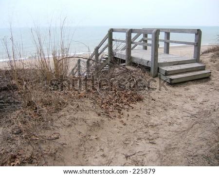 stairs to beach - stock photo