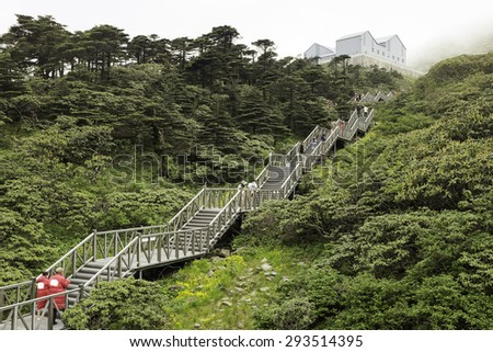 Stairs to cable car station in Dali, Yunnan, China (mountain of Cangshan)