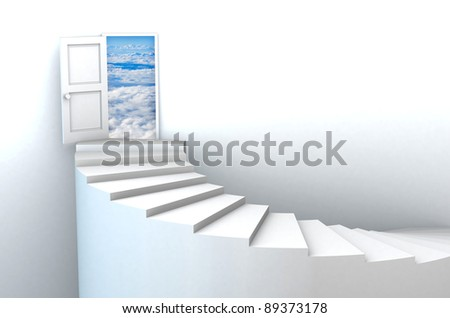 Stairs to heavens door illustration. Included clipping path in the door, so you can easily cut it out and place your own design. - stock photo